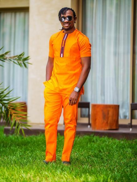 Sedem Men Orange Top and Slim Fit Trouser and Top