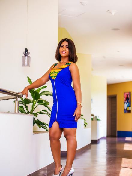 Yaa Ahuofe Royal Blue and Kente Dress