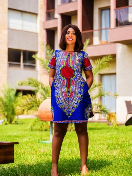 Blue Dashiki Casual Dress
