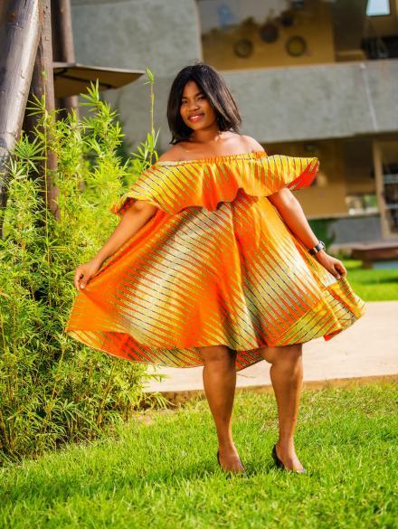 Orange Pencil Cap Dress