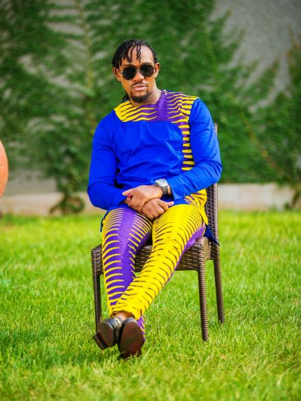 Yellow and Purple Nkrumah Pencil Trouser and Top