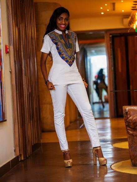 Modenbor White Top and Bottom with Dashiki Design