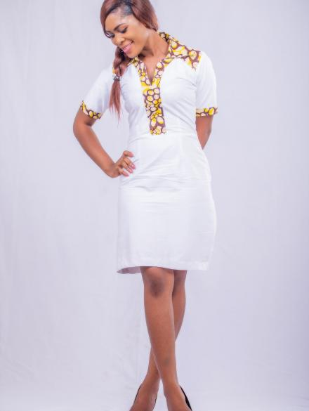 BBS White collar Short Dress