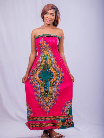 Pink Dashiki  Long Dress