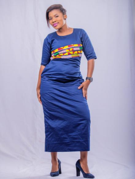 Denim Blue and Kente Long Dress