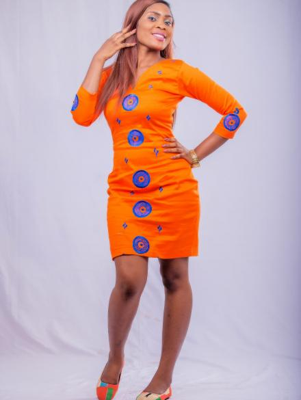 Orange and Blue Embroidery Short Dress