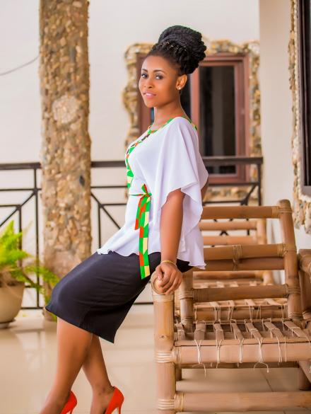 Black Skirt and White top with Kente Stripe