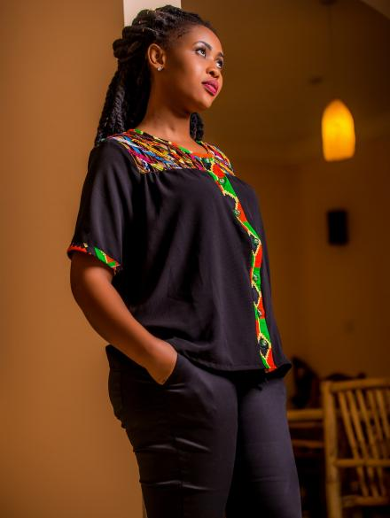 Girl Afrique woven black top and 3/4 down