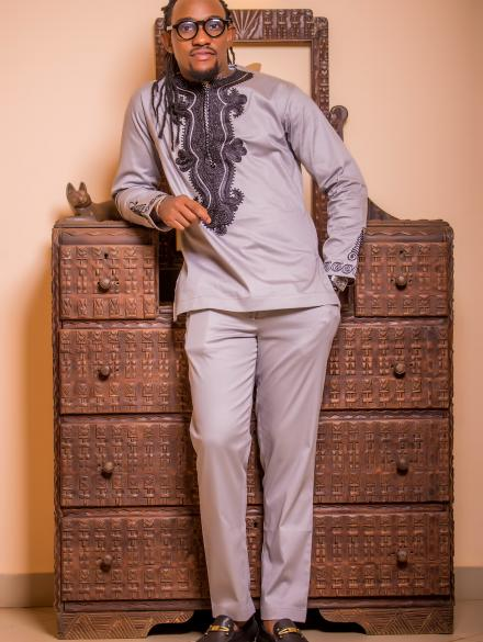 Grey Embroidered Slim Fit top and Trouser