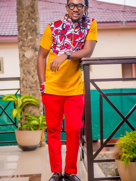 Woodin designed Gold Top and slim fit Red Trouser