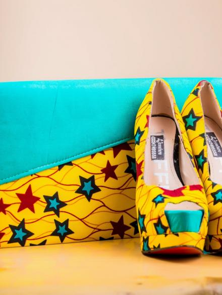 Yellow and Blue Purse and Shoe