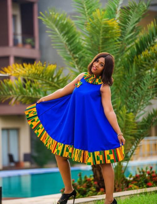 Naa Lamle Blue Cotton and Kente Loose Dress