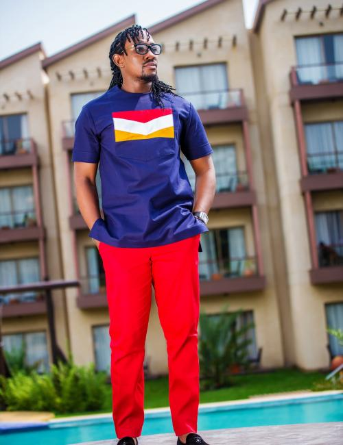 Ofie Denim Top and Red Slim Fit Trouser