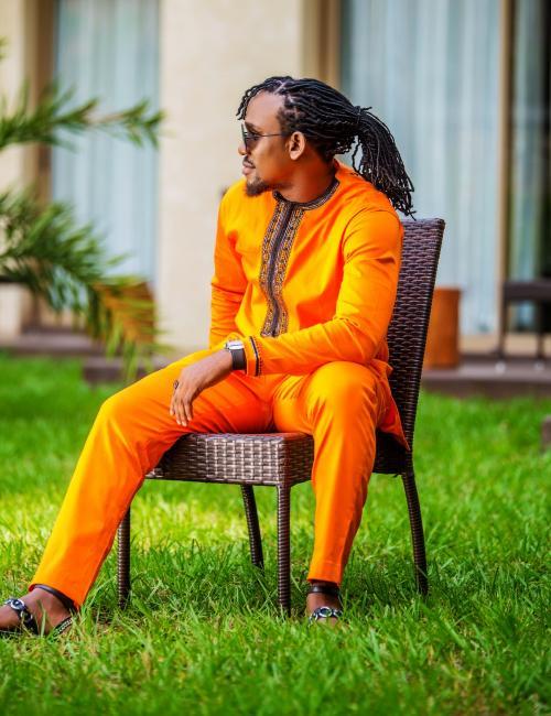 Kwabena Kwabenaa Slim Fit Orange Top and Trouser