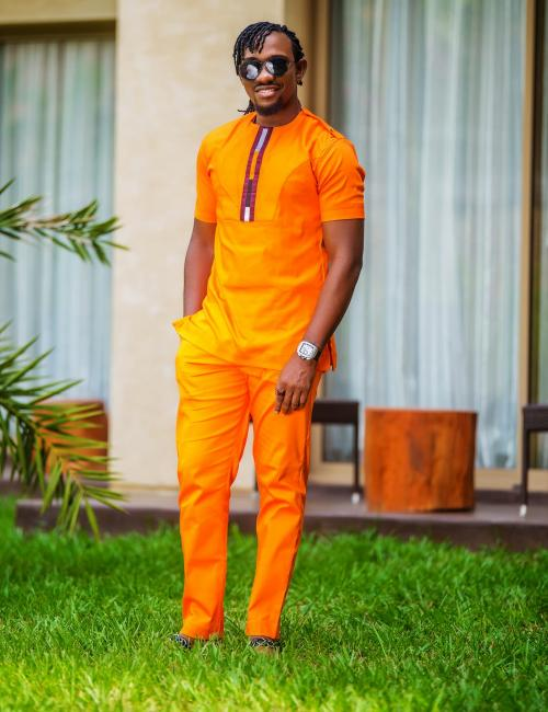 Sedem Men Orange Top and Slim Fit Trouser and Top