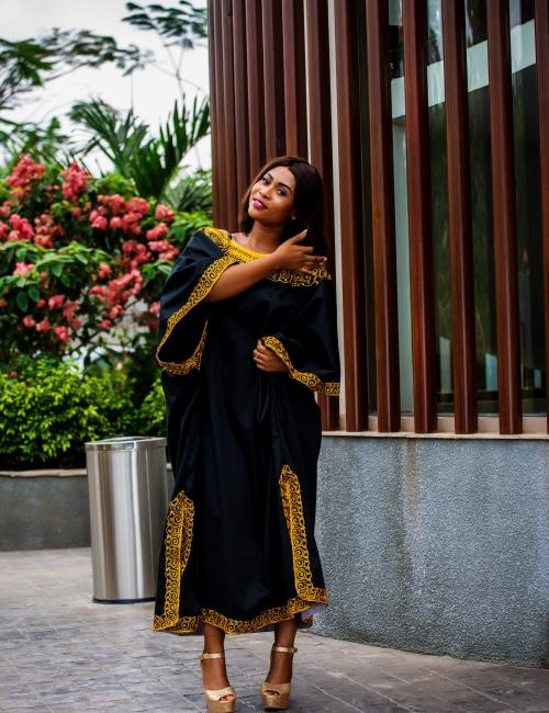 Julie Apraku Black and Gold Loose Dress