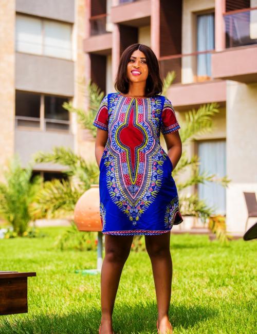 Blue Dashiki Casual Dress