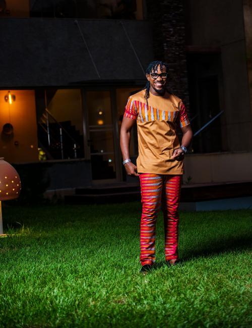 Red  Nkrumah Pencil Trouser and Top