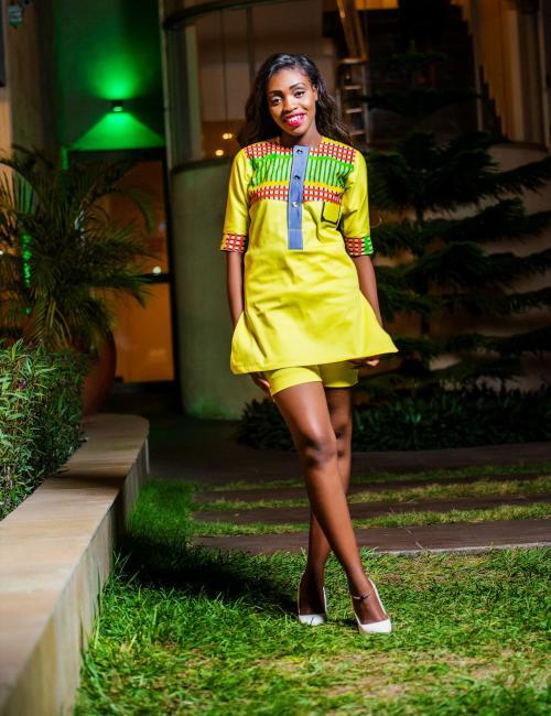 Afia Odo Lemon Yellow Top and Short