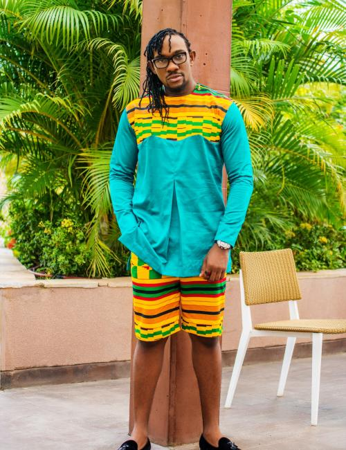 Kente Short and Green Top