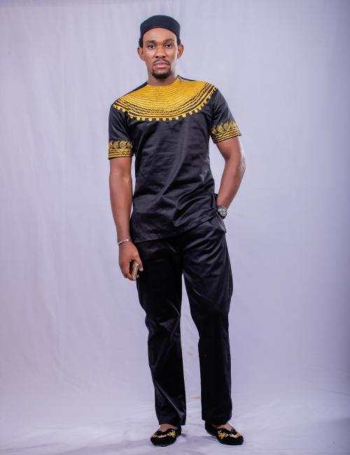 Black and Gold Short Sleeve Top and Bottom