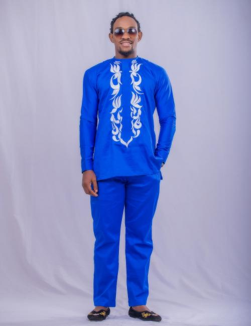 Blue and white embroidered top and Trouser