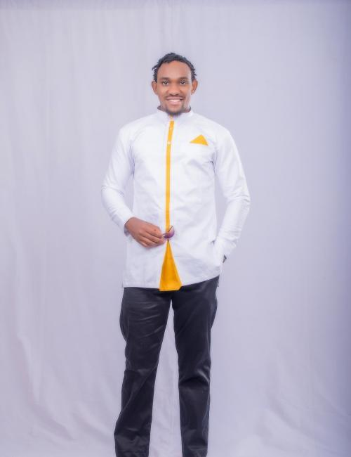 Gold Designed White Long Sleeve and Black Trouser