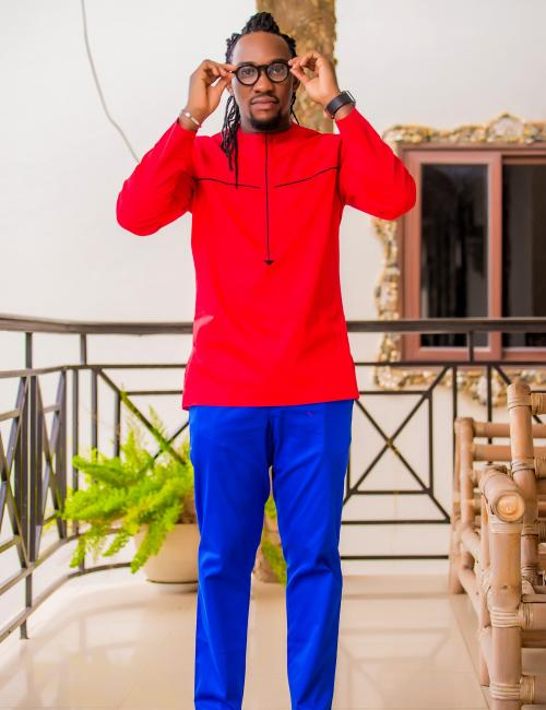 Slim Fit Red Top and Blue Trouser