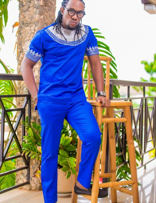 All Blue with white embroidered short sleeve top and Trouser