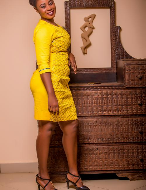 Yellow embroidered below knee dress