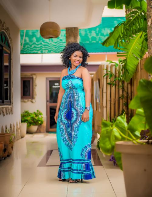 Off Shoulder Sea Blue Long Dress