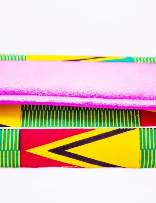 KENTE AND LEATHER PURSE