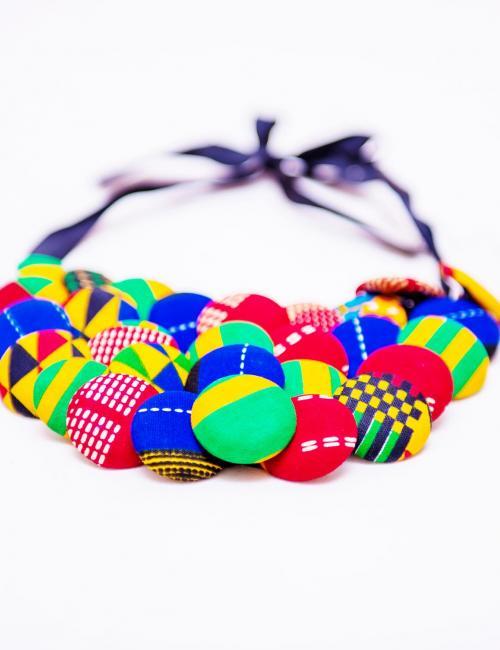 Button Kente Necklace