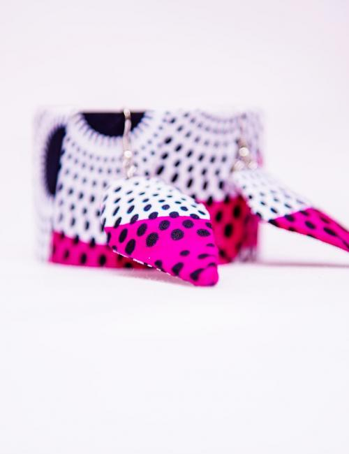 Pink and White Nsubura Bangle and Earring