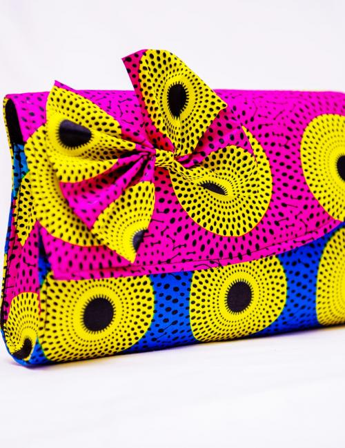 Pink and Blue Nsubura Clutch Bag