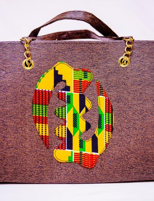 Brown Leather and Kente Handbag