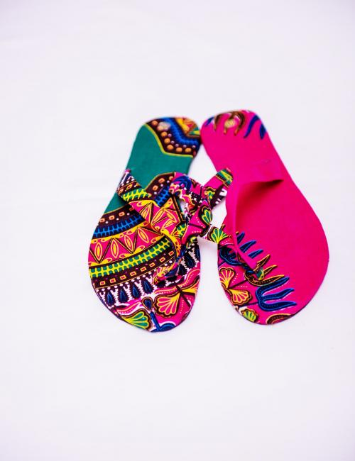 Pink and Green Dashiki Flip Flop